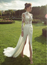 Load image into Gallery viewer, Chiffon Sheath Wedding Dresses  with Lace Appliques High Collar