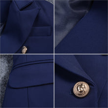 Load image into Gallery viewer, Short Double Breasted Cotton Jacket #2                 Black Royal Blue Sky Blue