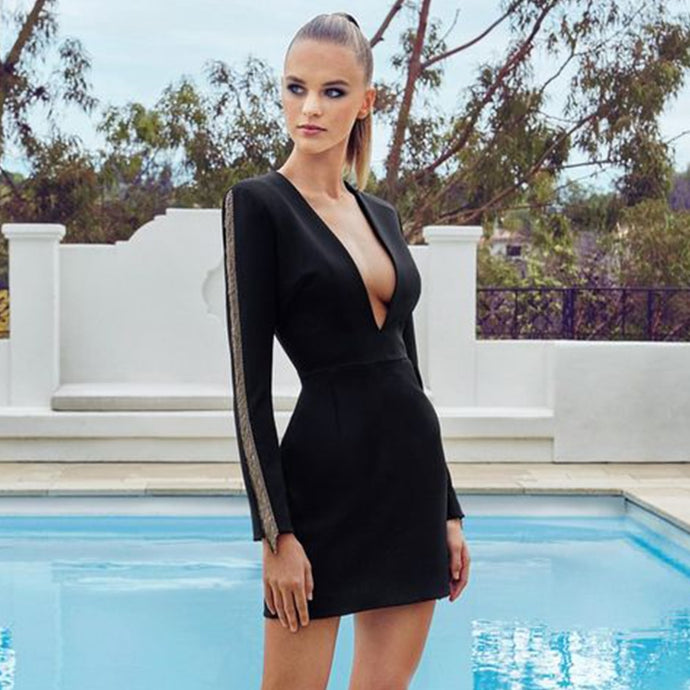 Sexy Deep V Neck Long Sleeve Runway Dress