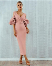 Load image into Gallery viewer, Tiered Flounce  Sleeve Cold Shoulder dress
