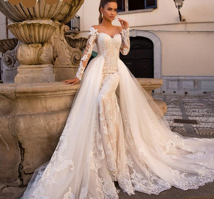 Sweetheart Long Sleeve Mermaid Wedding Dress with Detachable Train