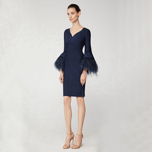 Feather Flare Sleeve Bandage Dress..