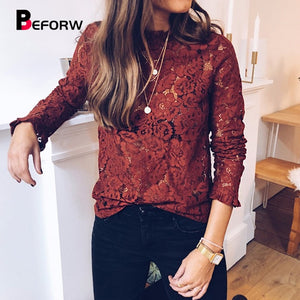 Lace Long Sleeve Flare Cuff Blouse