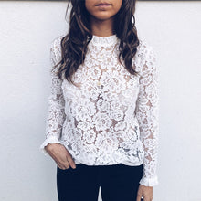 Load image into Gallery viewer, Lace Long Sleeve Flare Cuff Blouse