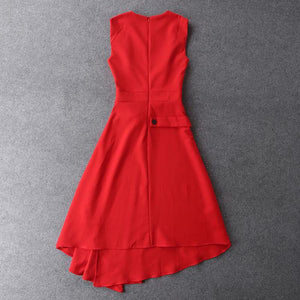 solid color black/red sleeveless mid-calf Jewel neck dress