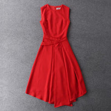 Load image into Gallery viewer, solid color black/red sleeveless mid-calf Jewel neck dress