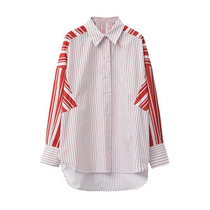 Red Stripe over sized   Long Sleeve Blouse