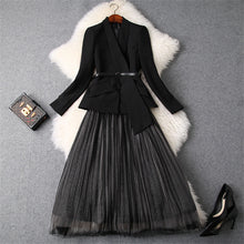 Load image into Gallery viewer, Two Piece  Blazer Suit  with Long Sleeve Jacket+Midi Tulle Skirt Set