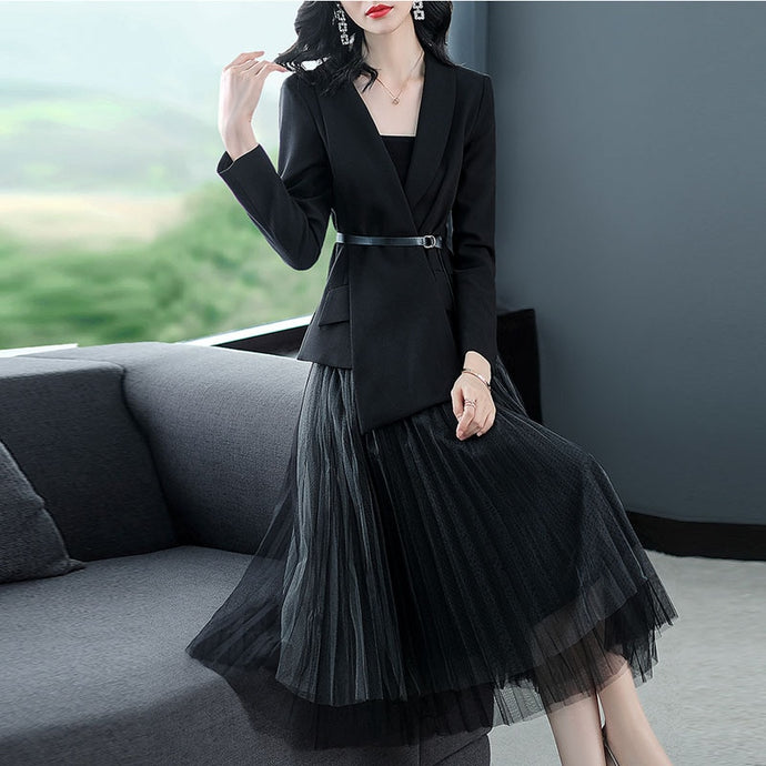 Two Piece  Blazer Suit  with Long Sleeve Jacket+Midi Tulle Skirt Set