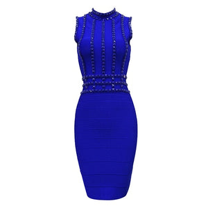 Diamond Embellished Sleeveless  Bandage Dress..