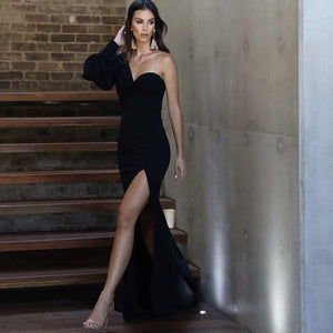 Strapless One Shoulder Slit Skirt Mermaid Gown