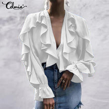 Load image into Gallery viewer, Ruffled Blouse V neck Long Sleeve Shirts