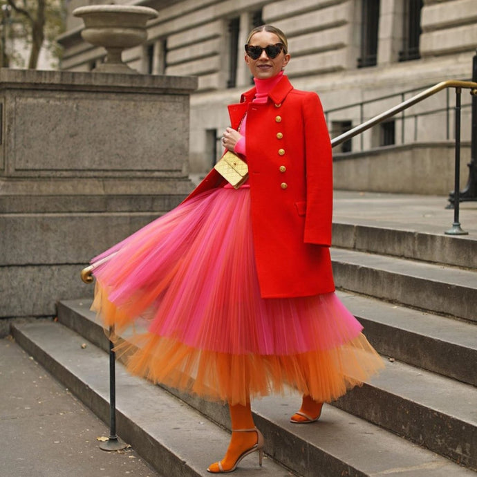 Mixed Colors Tulle Skirt High Waist