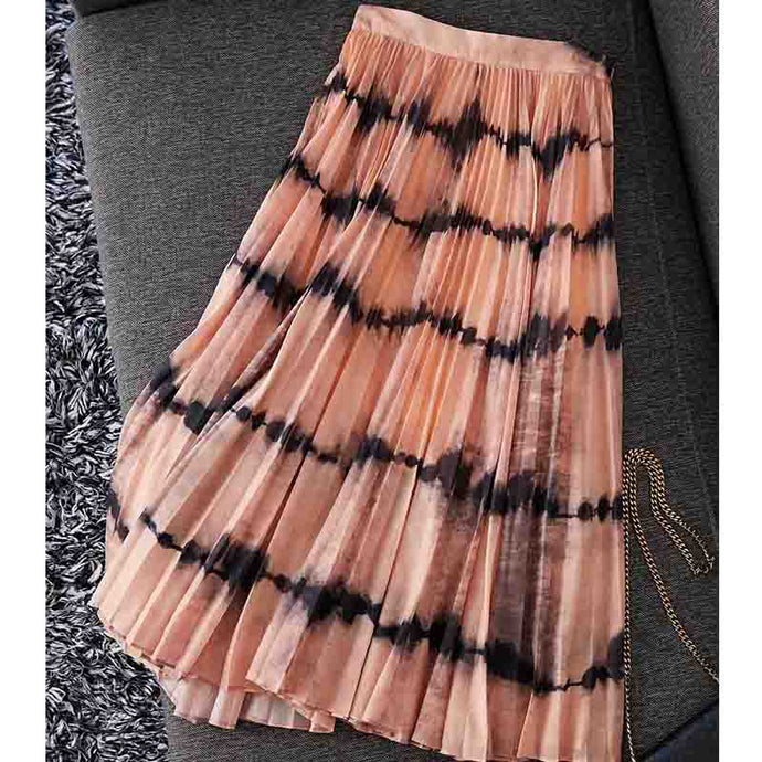 Tie-Dye  Pleated Long Skirt