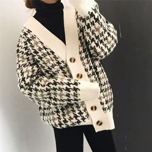 Knitted Long Hounds Tooth Cardigan Sweater