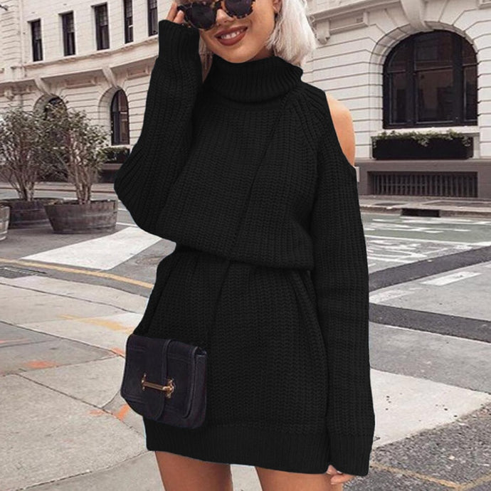 Knitted Cotton Turtleneck Off Shoulder Long Sweater Dress       Plus Size Too