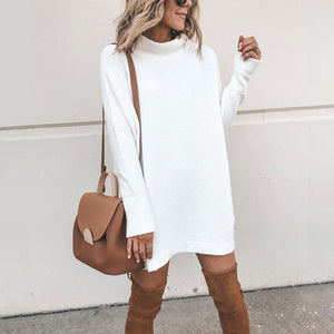 Over sized Turtleneck Knitted Sweater Dress