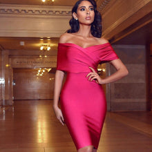 Load image into Gallery viewer, Power Stretch Draped Off Shoulder Dress..