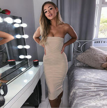 Load image into Gallery viewer, Criss Cross Strapless Bandage Dress