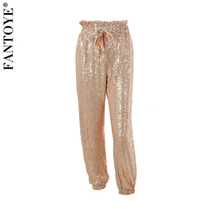 Gold Sequin Wide Leg Draw String Pant