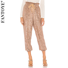 Load image into Gallery viewer, Gold Sequin Wide Leg Draw String Pant
