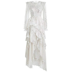 Floor-Length Lace Up Detail Cascading Dress