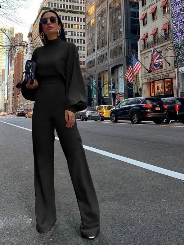 Long Bell  Sleeve and Flared Pant Jumpsuit