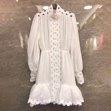 Load image into Gallery viewer, Lantern Long Sleeve High Waist Hollow Out Ruffle Hem Shirt Dress