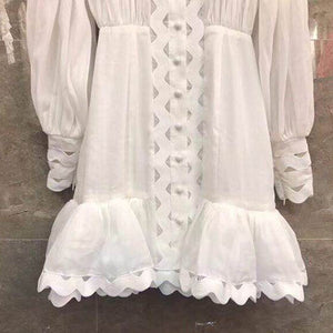 Lantern Long Sleeve High Waist Hollow Out Ruffle Hem Shirt Dress
