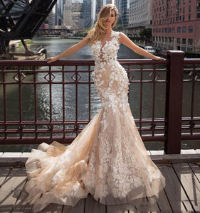 Full Appliques Illusion Button Back Bridal Gown