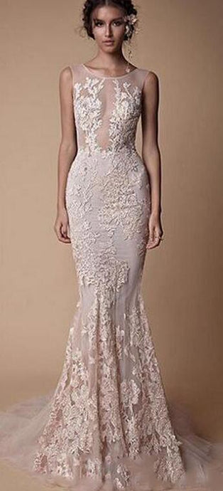 Sheer  Backless Full length Train fitted mermaid gown