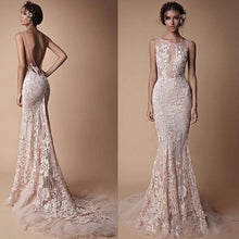 Load image into Gallery viewer, Sheer  Backless Full length Train fitted mermaid gown