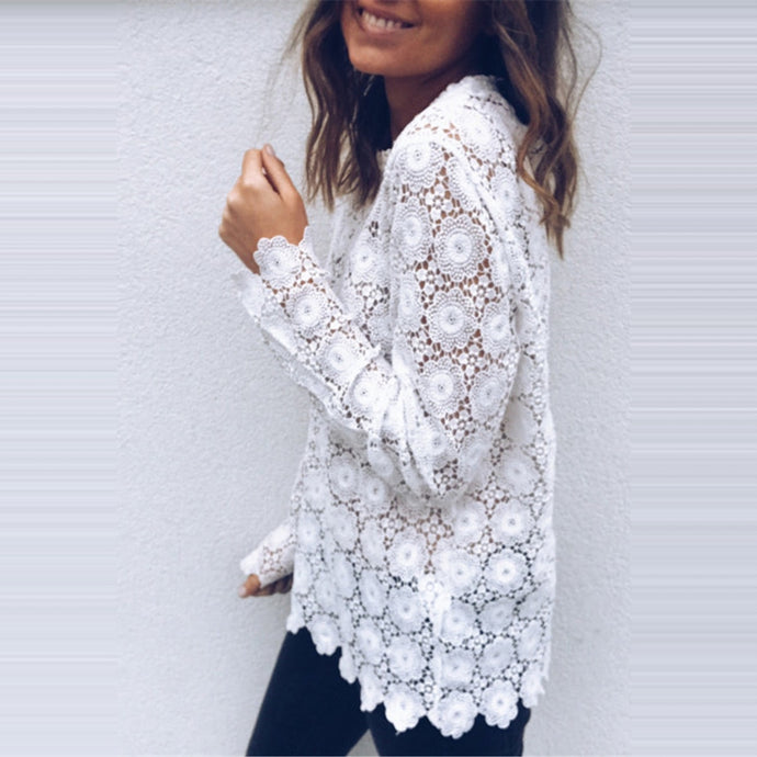 Embroider White Lace Top