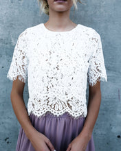 Load image into Gallery viewer, Double Tiered Scalloped Lace Blouse