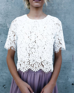 Double Tiered Scalloped Lace Blouse