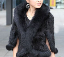 Load image into Gallery viewer, Mink Fur Shawl Wrap Fox Fur Collar Cover With Mink Fur