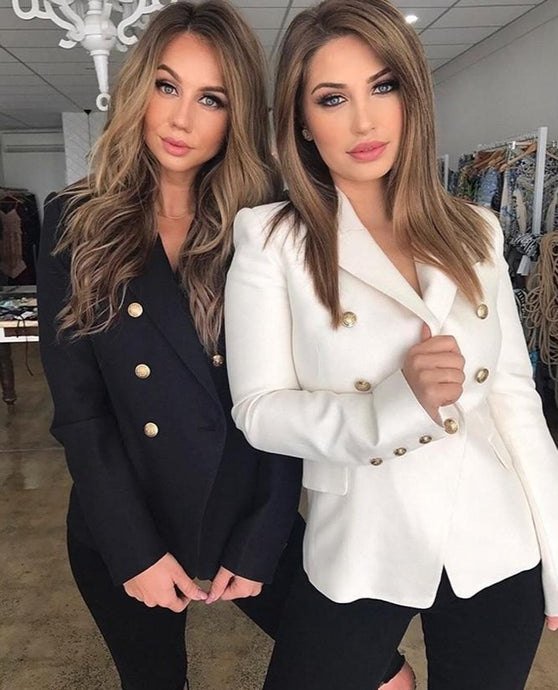Women Double Breasted Blazers  Black or White