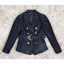 Load image into Gallery viewer, Belted Designer Blazer with Gold  Glitter