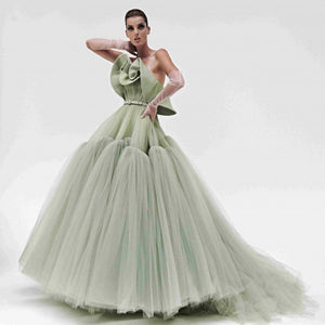 Haute Couture  Tulle Off the Shoulder Evening Gown