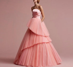 Navarra Haute Couture  Satin and Tulle Tiered Ball Gown (Many Colors)