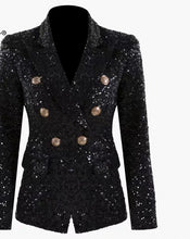 Load image into Gallery viewer, Black Sequin Blazers Women Gold Double Breasted Buckle Notched Lapel