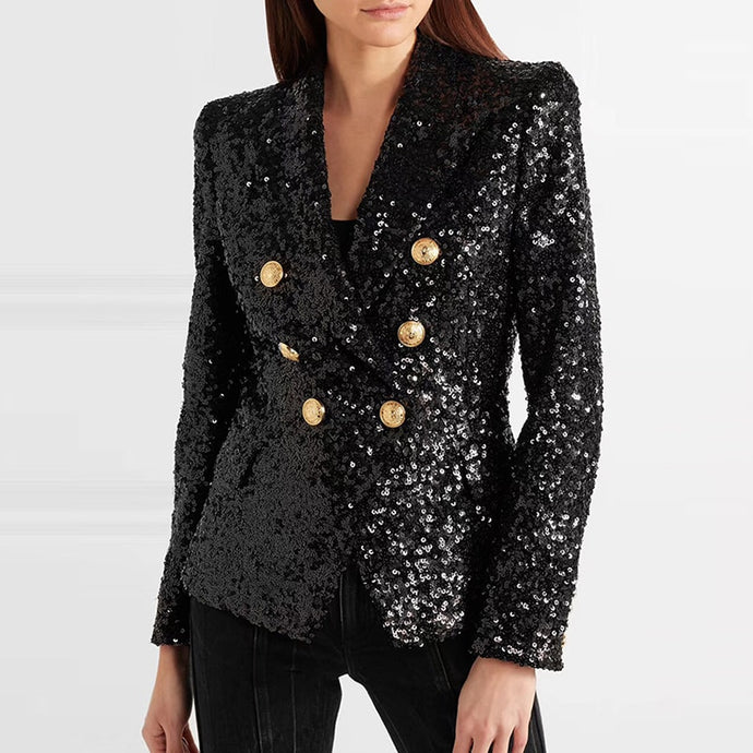 Black Sequin Blazers Women Gold Double Breasted Buckle Notched Lapel