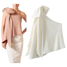 Load image into Gallery viewer, High Quality  Single Shoulder Bow Detail Blouse