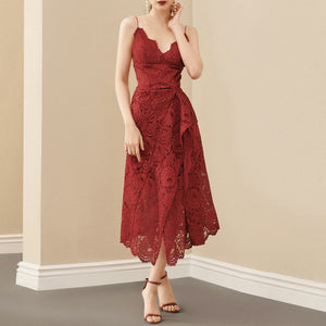 A-Line Red Bandage Dress Floral Lace  Spaghetti Strap Dress