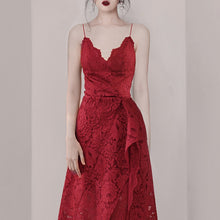 Load image into Gallery viewer, A-Line Red Bandage Dress Floral Lace  Spaghetti Strap Dress
