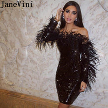 Load image into Gallery viewer, Sparkling Black Sequined Cocktail Party Dress With Feathers
