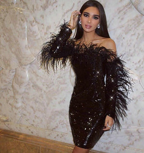 Sparkling Black Sequined Cocktail Party Dress With Feathers