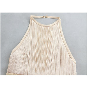 Halter Ankle-Length Tiered Fringe Dress..