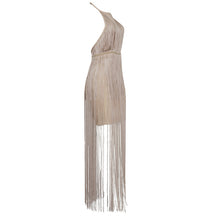 Load image into Gallery viewer, Halter Ankle-Length Tiered Fringe Dress..