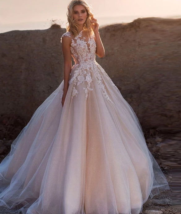 A Line Wedding Dresses Sleeveless